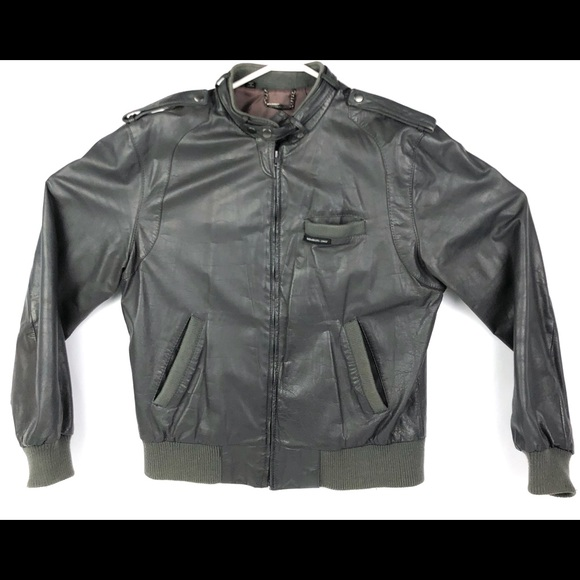 29adcd360 1980s Members Only Grey Leather Jacket Men's 42